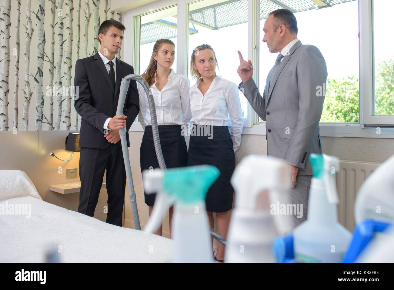 cleaning school - Stock Image