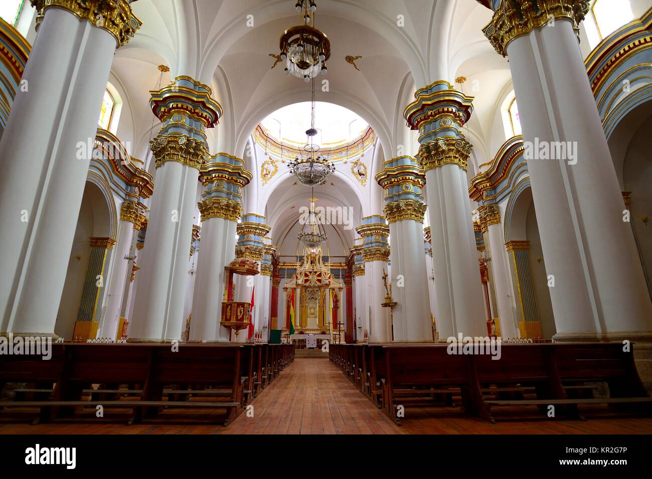 Interior of the cathedral, Potosí, Tomás Frías province, Bolivia - Stock Image