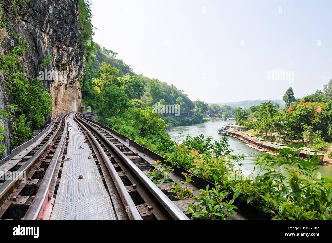 Death Railway bridge over the Kwai Noi river - Stock Image