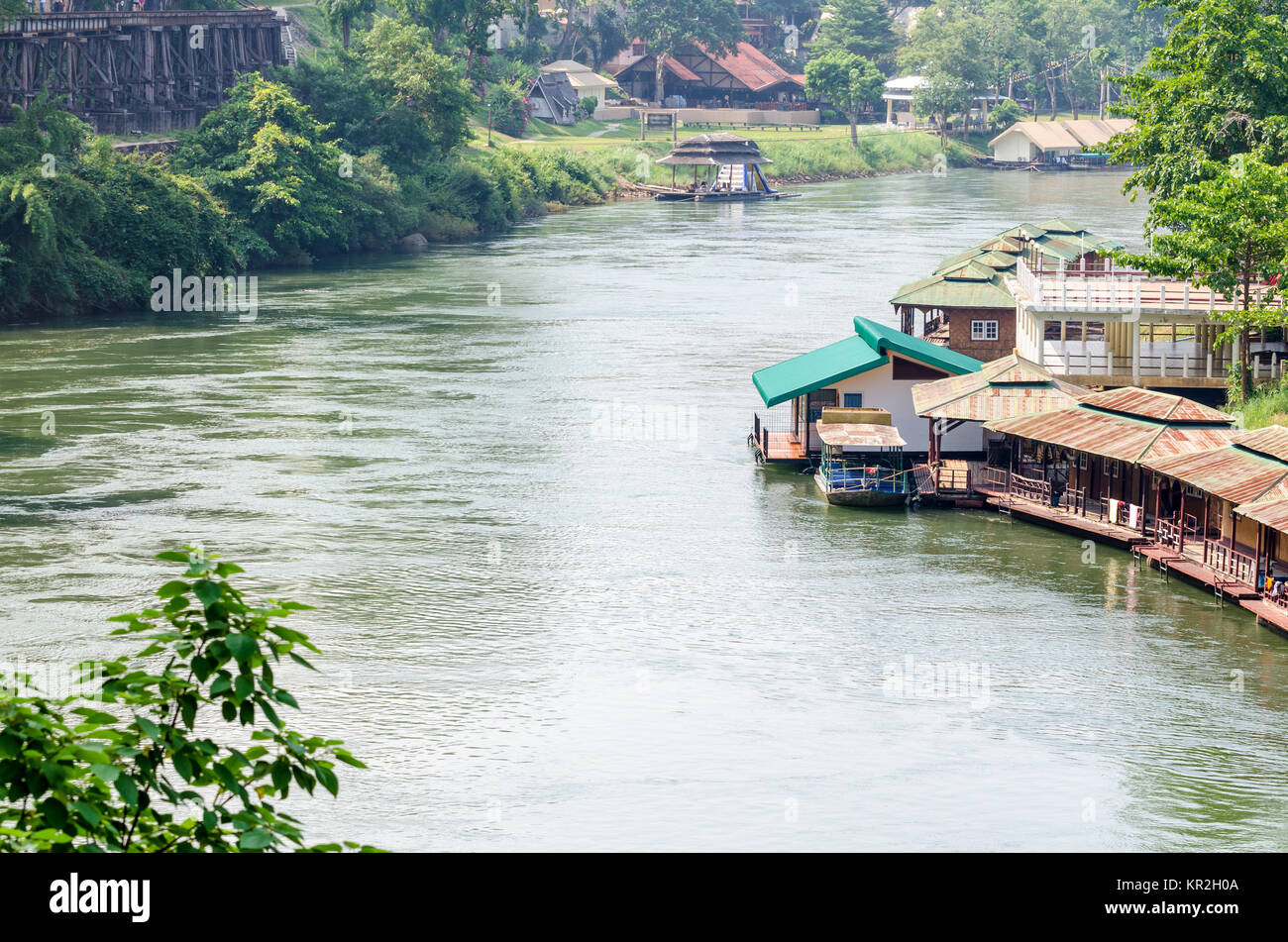 Kwai Noi river under Death Railway bridge - Stock Image