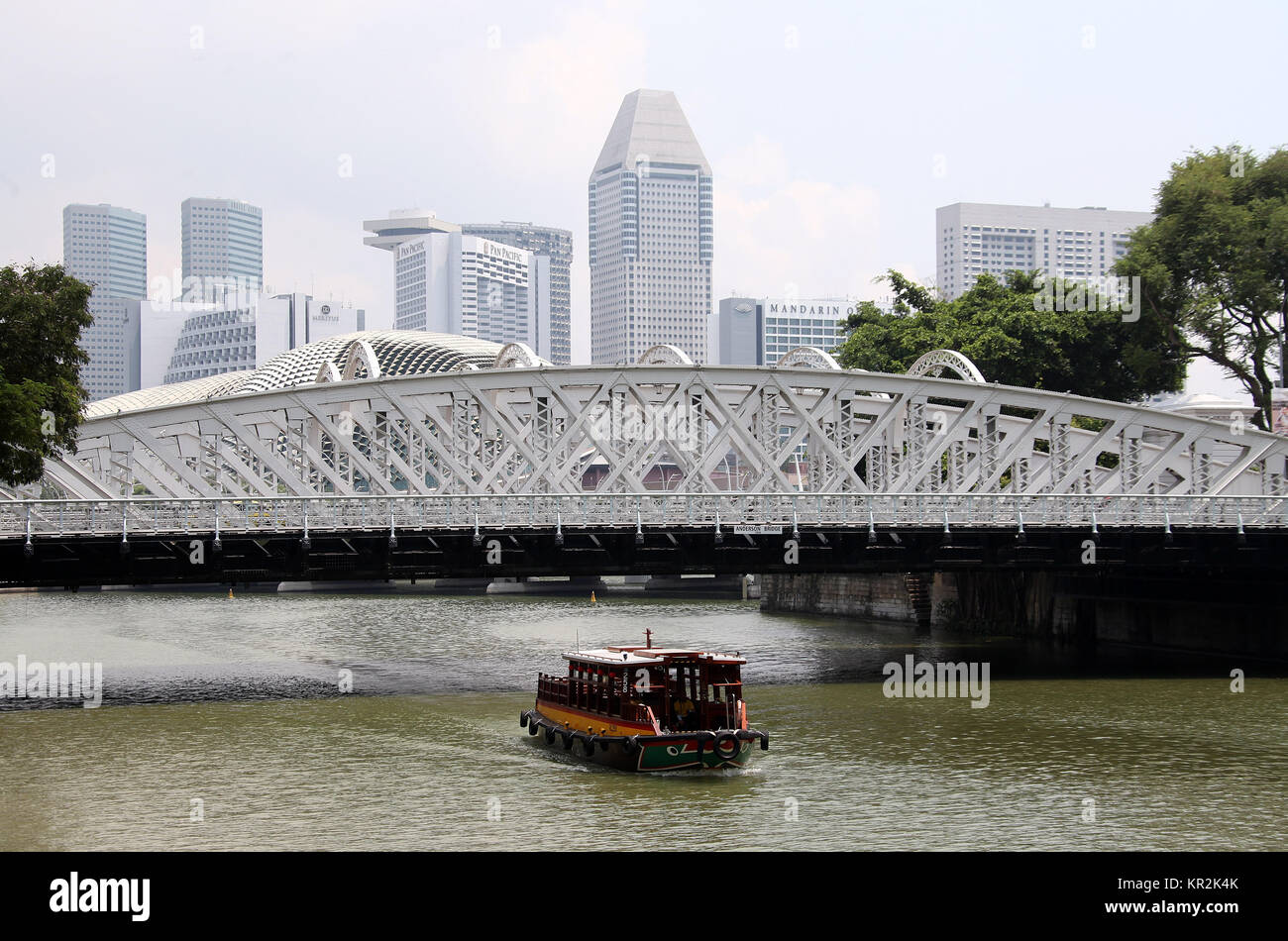 Boat on the Singapore River Stock Photo