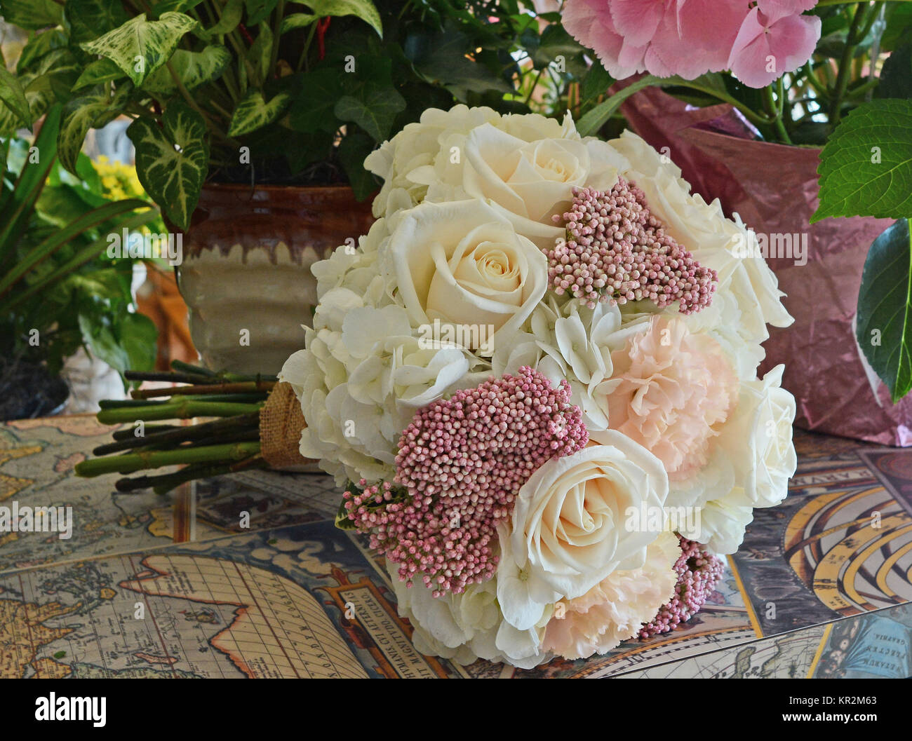 Photo of a soft pastel nosegay bridal bouquet with white roses stock photo of a soft pastel nosegay bridal bouquet with white roses hydrangea blush carnations and pink rice flowers beautiful for a garden wedding mightylinksfo
