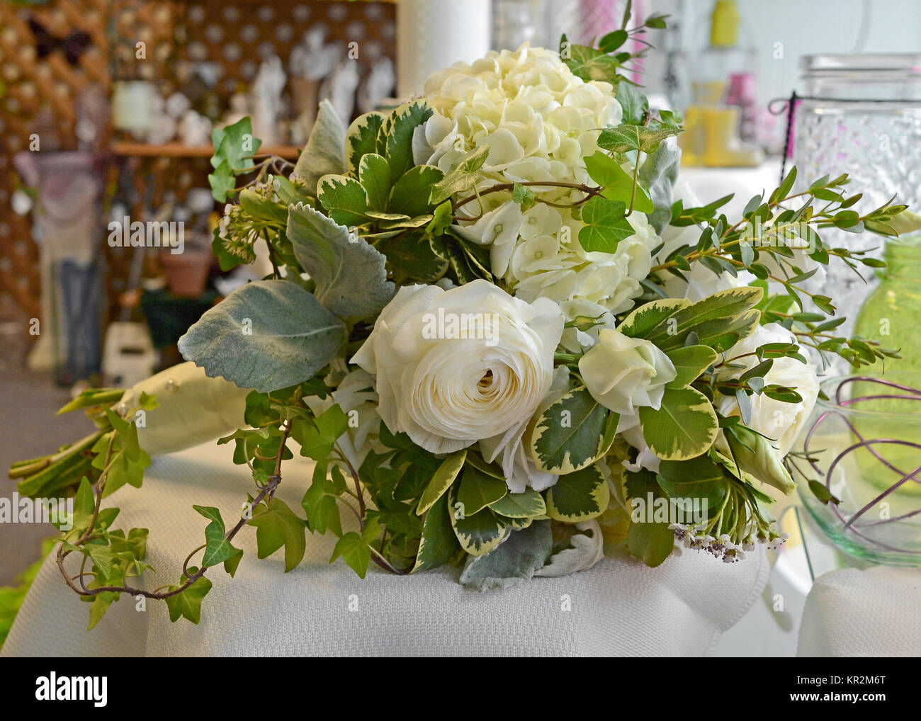 Photo Of White Garden Style Cascading Bridal Bouquet With Stock Photo Alamy