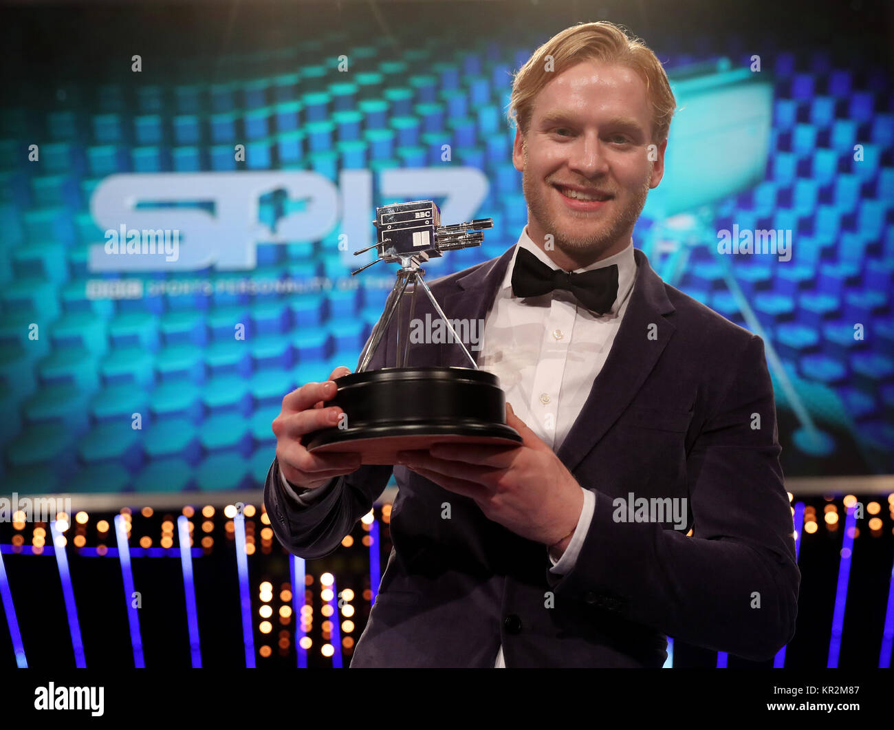 Jonny Peacock with his third place trophy during the BBC Sports Personality of the Year 2017 at the Liverpool Echo - Stock Image