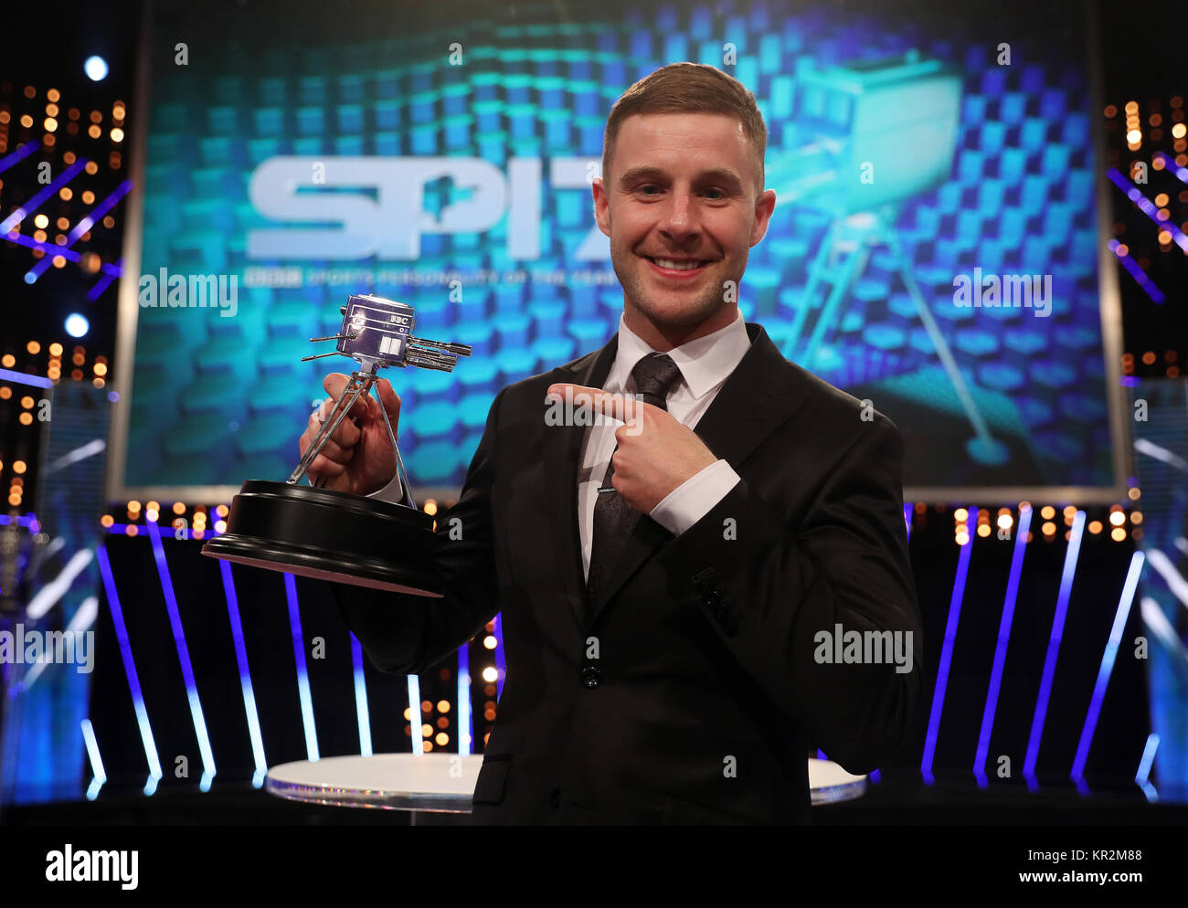 Jonathan Rae with his second place trophy during the BBC Sports Personality of the Year 2017 at the Liverpool Echo - Stock Image