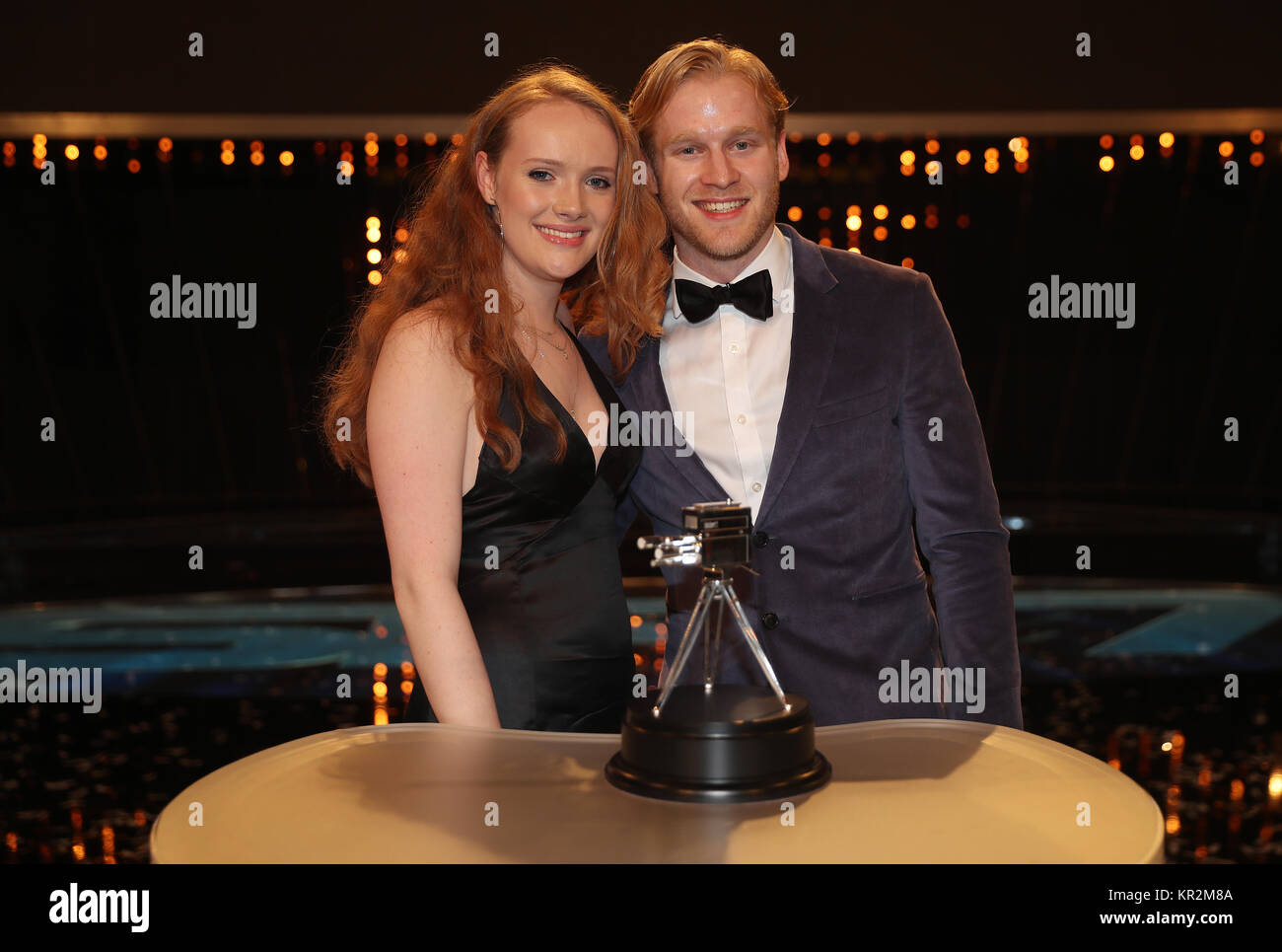 Jonny Peacock and his girlfriend sally Brown with his third place trophy during the BBC Sports Personality of the - Stock Image