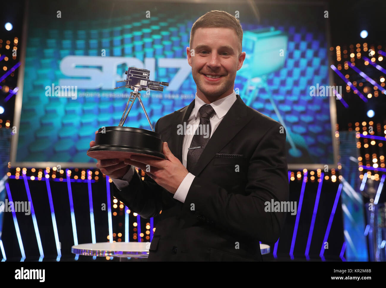 Jonathan Rea with his second place trophy during the BBC Sports Personality of the Year 2017 at the Liverpool Echo - Stock Image