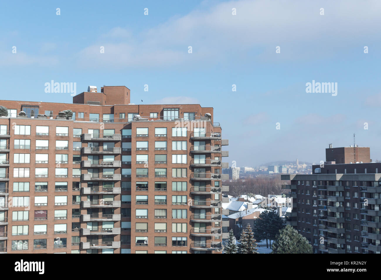 Modern condo buildings with huge windows and balconies in Montreal, Canada. Stock Photo