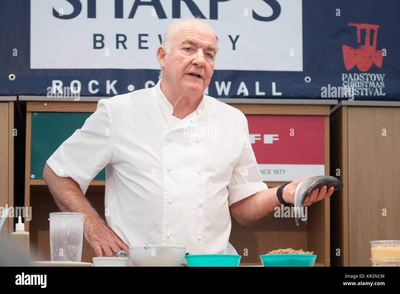 Rick Stein cooking at the Padstow Christmas Festival - Stock Image