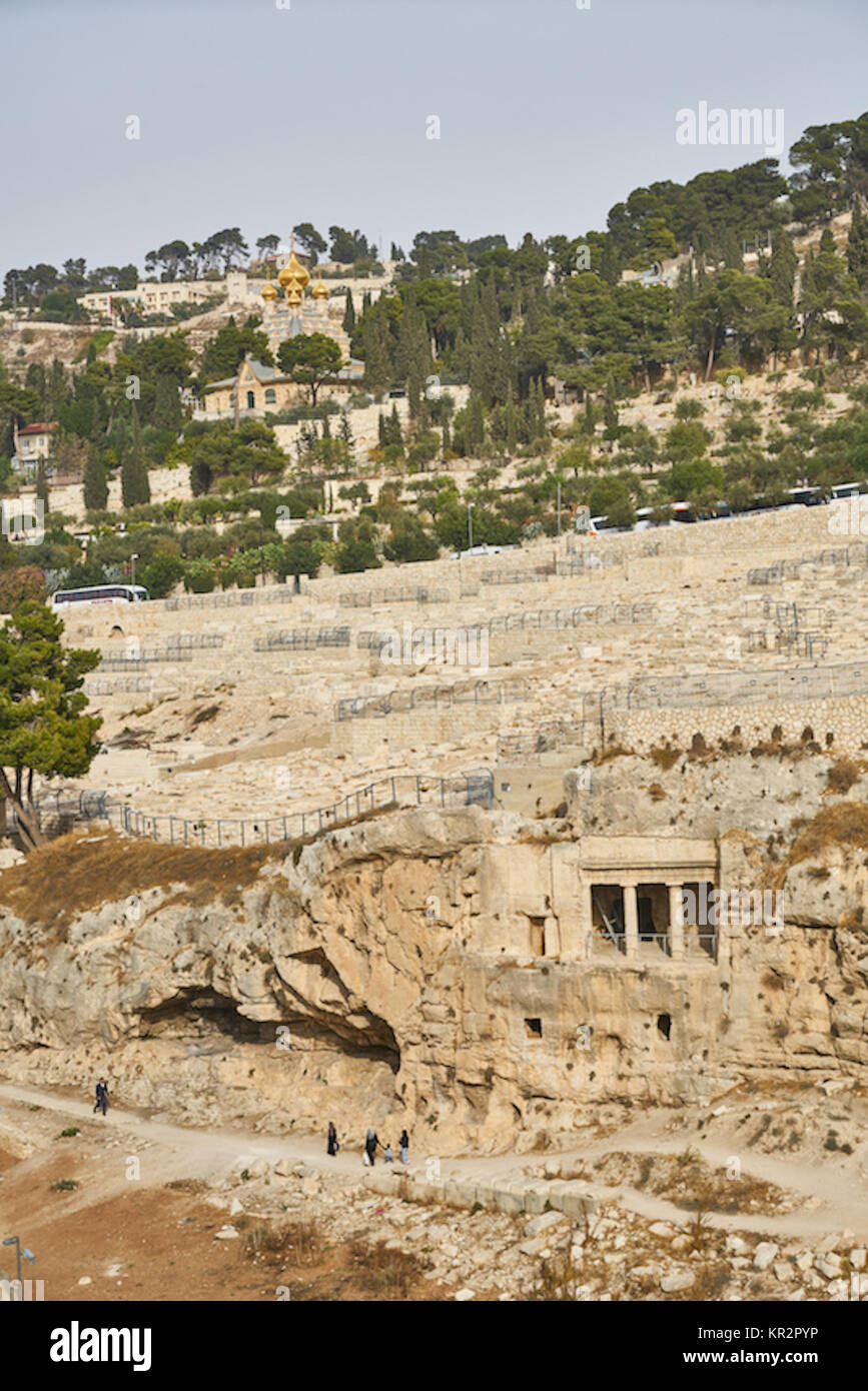 Mount of Olives and the old Jewish cemetery in Jerusalem, Israel - Stock Image