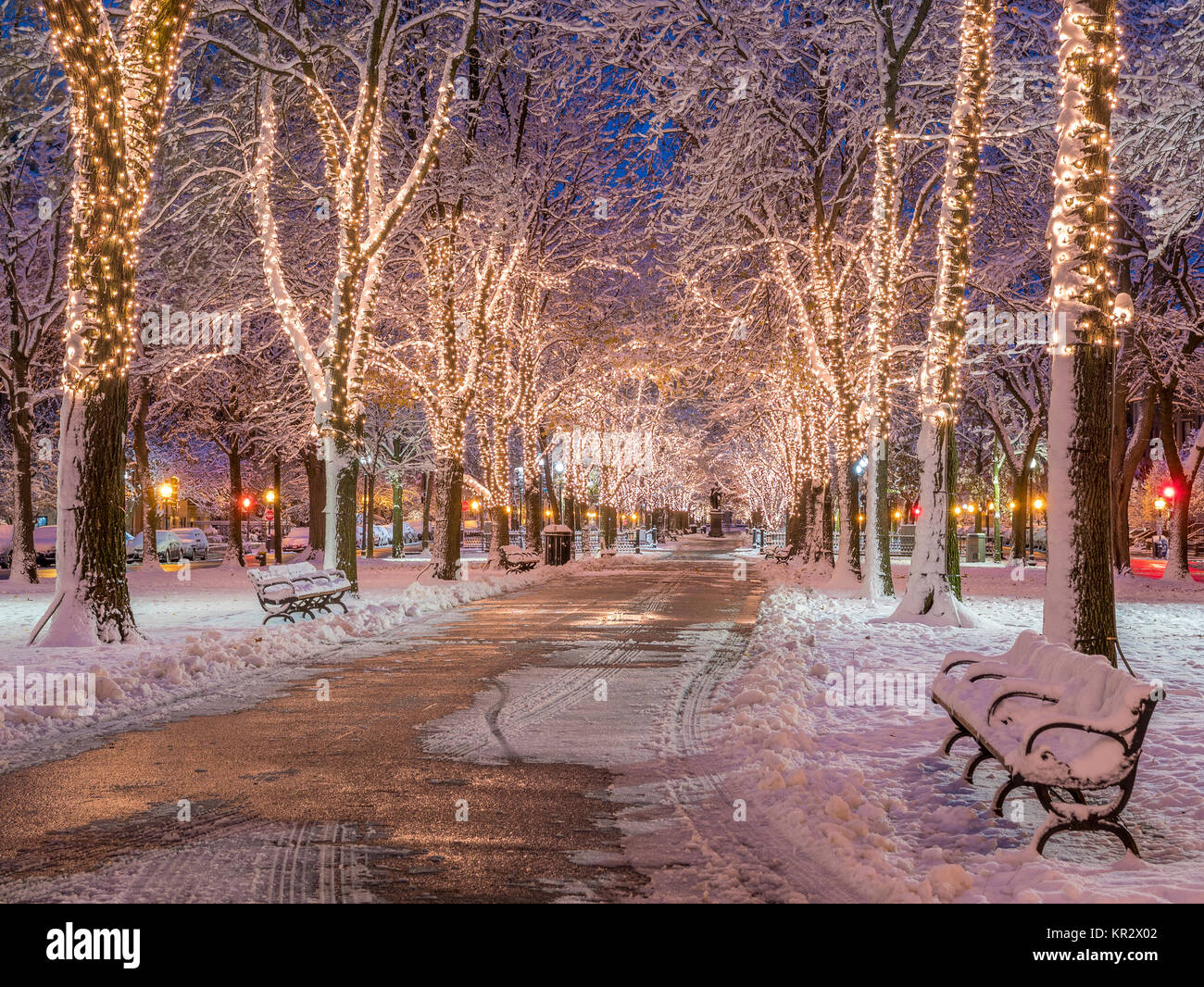 Christmas In Boston Images.Boston In Massachusetts Usa At Christmas Time Stock Photo