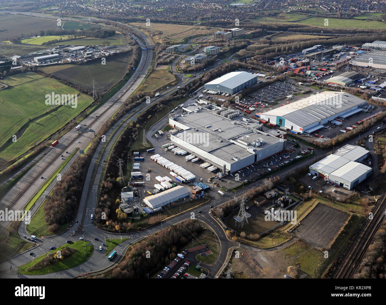 aerial view of Arla Foods factory & Offices, Leeds - Stock Image