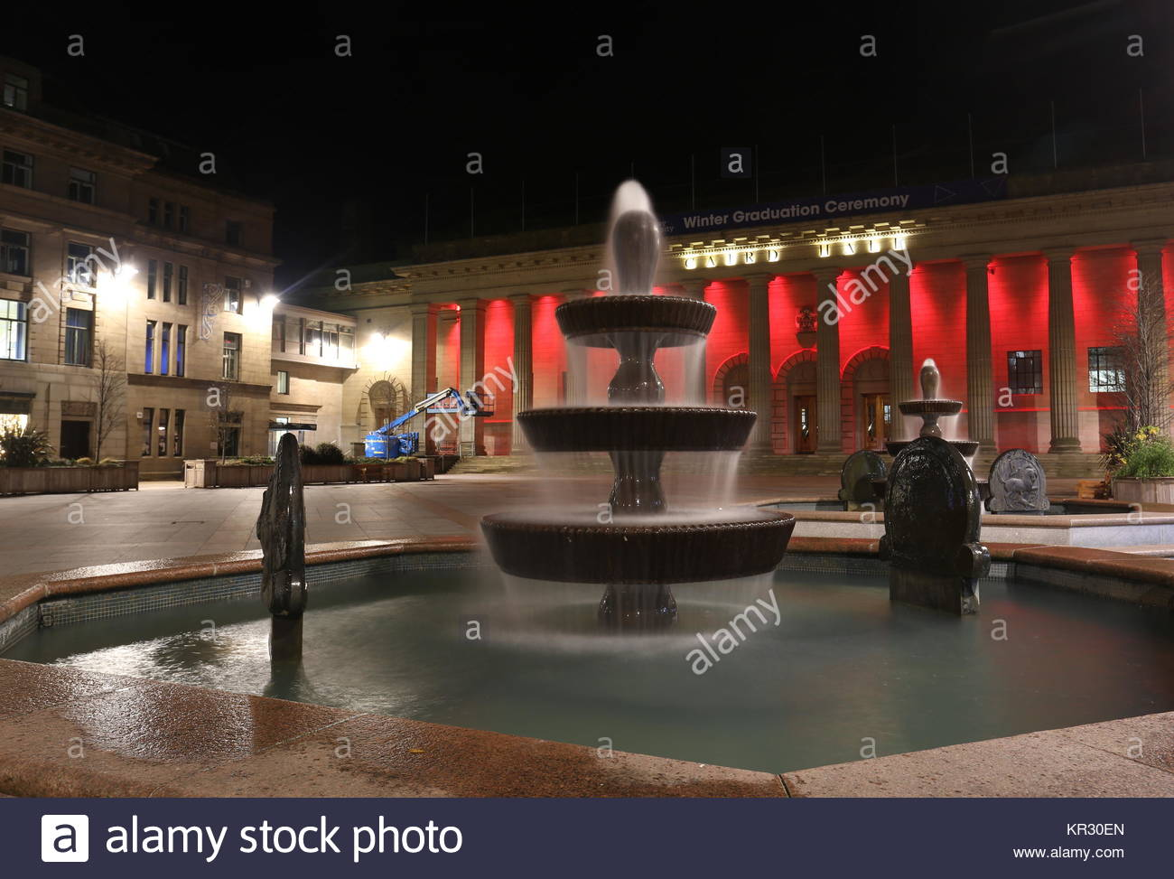 Caird Hall with Remembrance day lighting City square Dundee Scotland  November 2017 - Stock Image