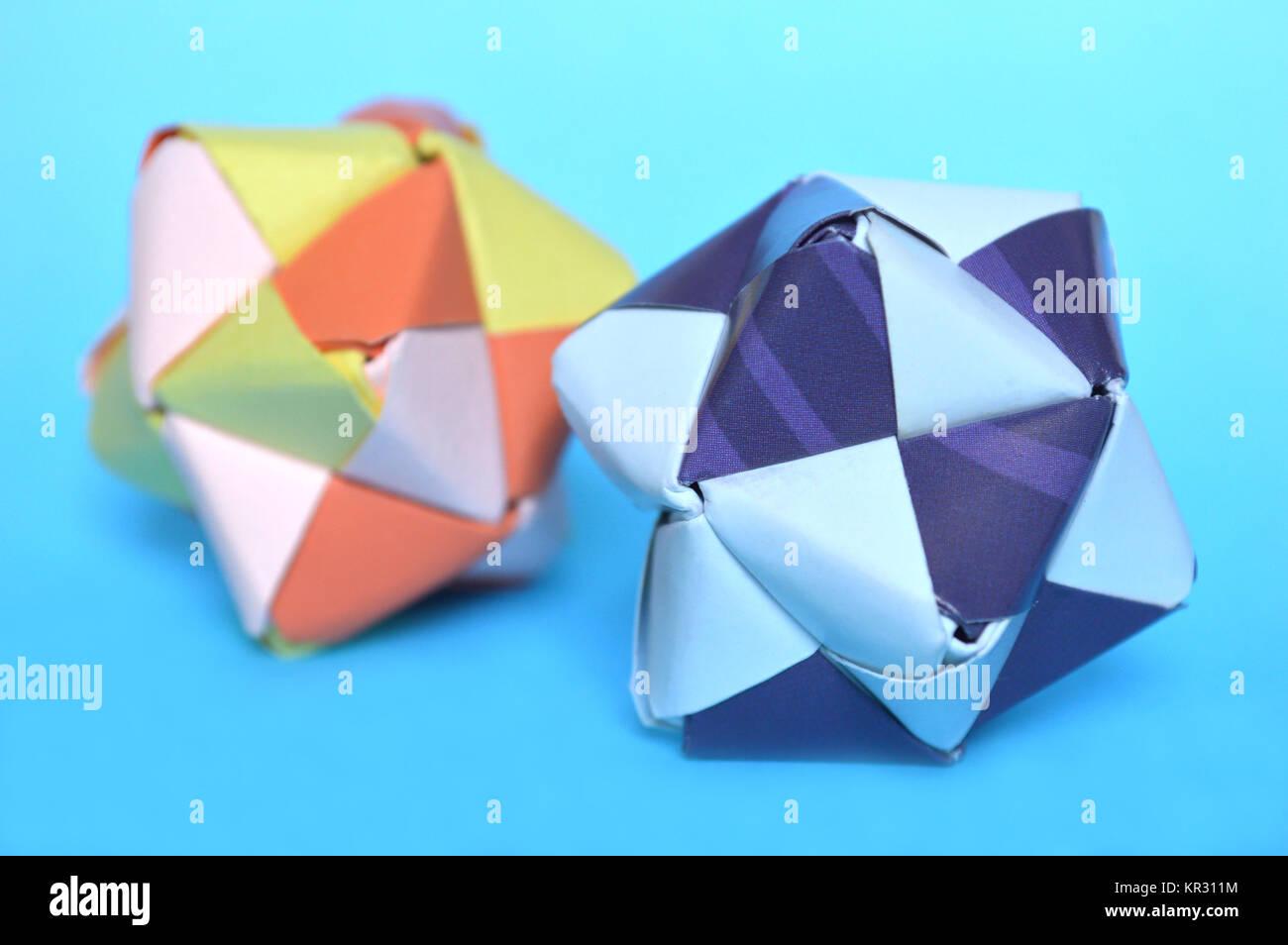 Modular Origami Sonobe Ball On Blue Background