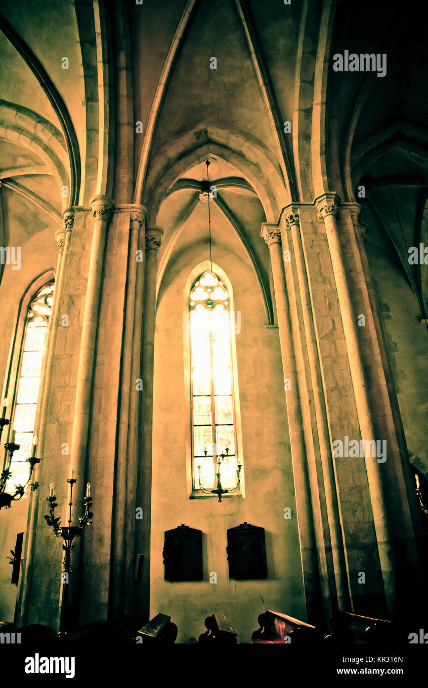 Gothic Cathedral Interior Detail With Pointed Arch Windows