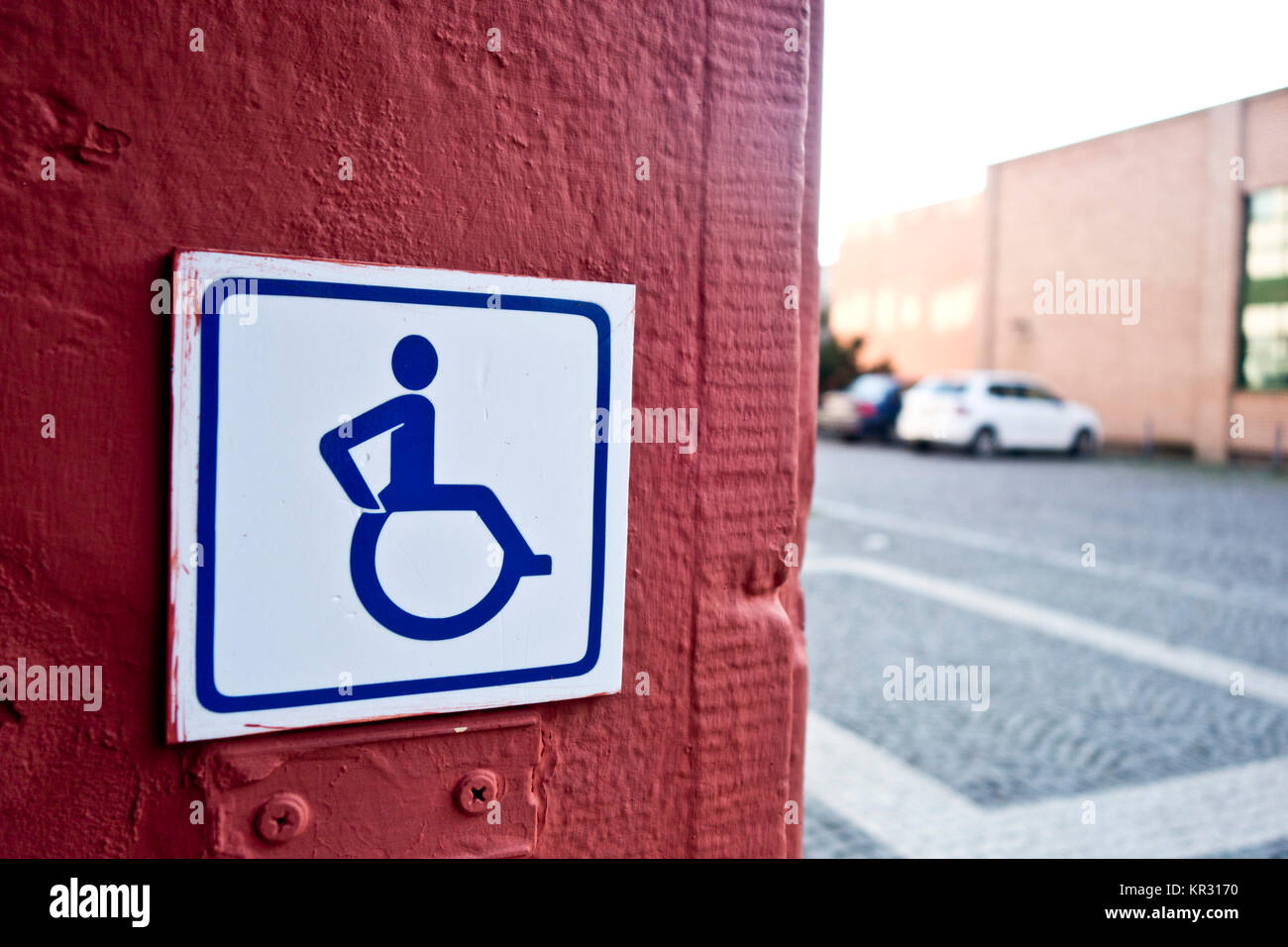 access for disabled sign on a wall - Stock Image
