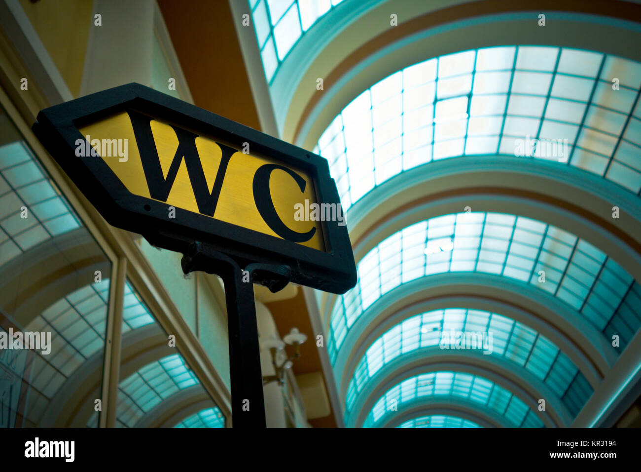 WC sign indication in a gallery - Stock Image