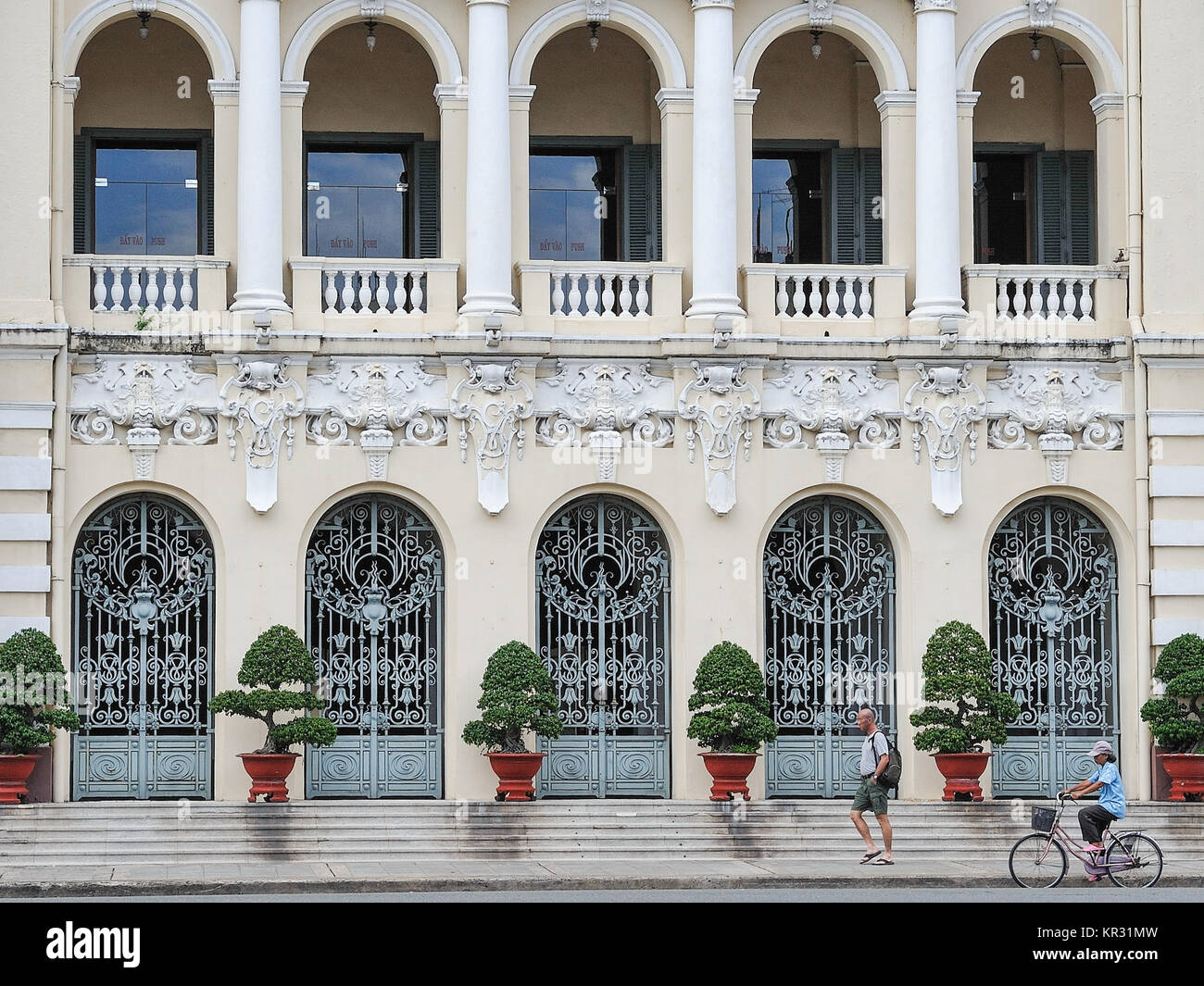 Façade of Ho Chi Minh City Hall in Ho Chi Minh City. Built in French colonial style it was known as Hotel de - Stock Image