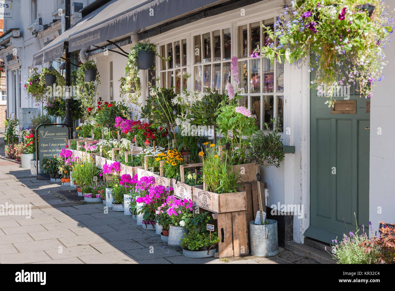 Exterior of Flower shop in high street Thame Oxfordshire UK - Stock Image