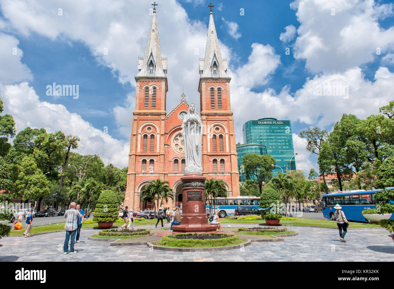 The catholic cathedral Notre Dame de Saigon in Ho Chi Minh City. Notre Dame is one the icons of Saigon and was completed - Stock Image