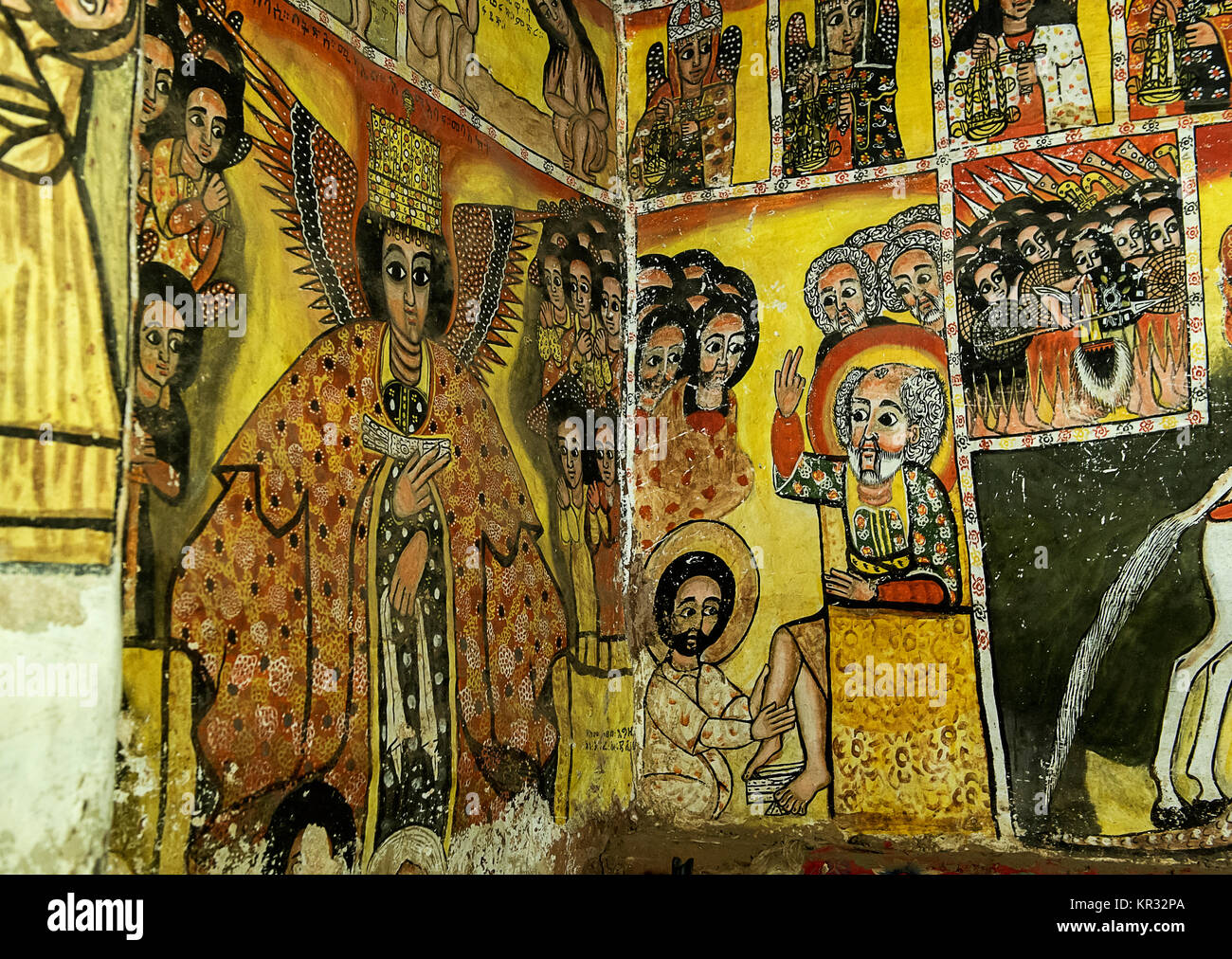 Left: Archangel Michael, right: Jesus washes the feet of Apostle Peter, fresco in the rock church Maryam Papaseyti, - Stock Image