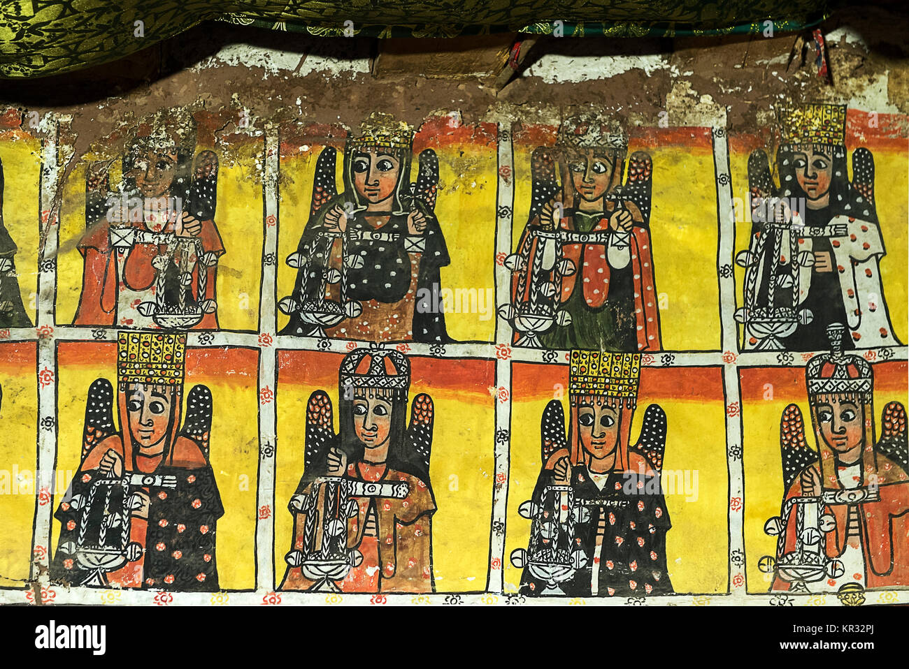 Eight of the twenty-four elders of the Apocalypse, fresco in the interior of the rock church Maryam Papaseyti, Gheralta, - Stock Image