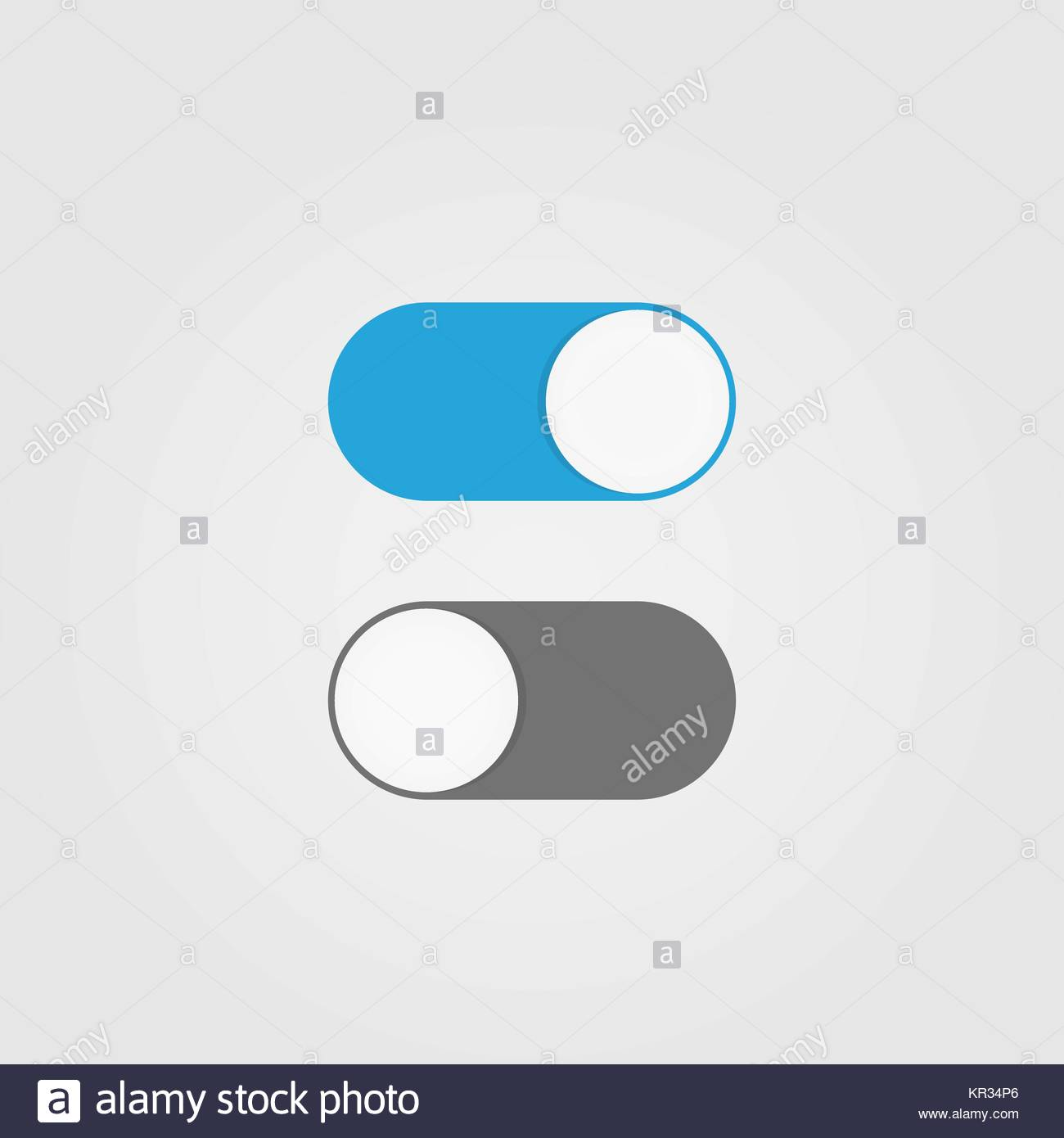 On and Off switch toggle. Simple flat icon design - Stock Image