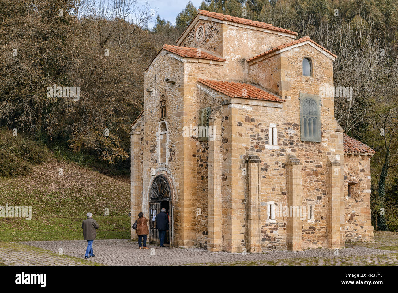 Pre-Romanesque church of San Miguel de Lillo, dedicated to the Archangel, ninth century, the command to build the - Stock Image