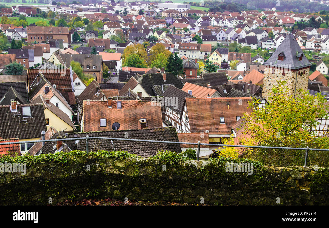 roofs view from above at a german village - Stock Image