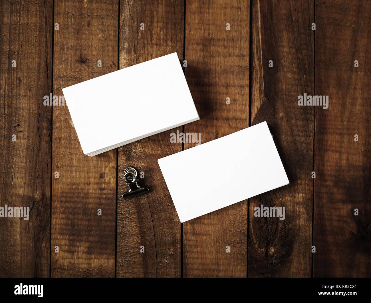 Blank business cards - top view Stock Photo: 169106396 - Alamy