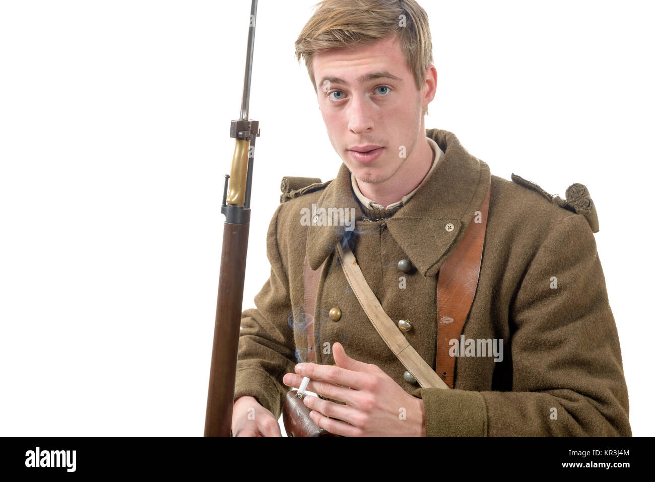 40s french soldier with cigarette - Stock Image
