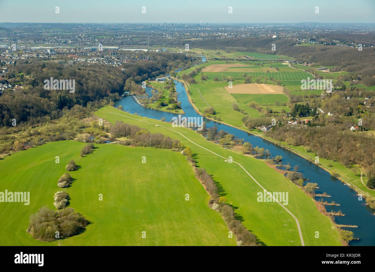 Ruhr, Ruhr Valley, Ruhr Aue, towpath, Welper lock, lock canal, Hattingen, Ruhr area, North Rhine-Westphalia, Germany, - Stock Image