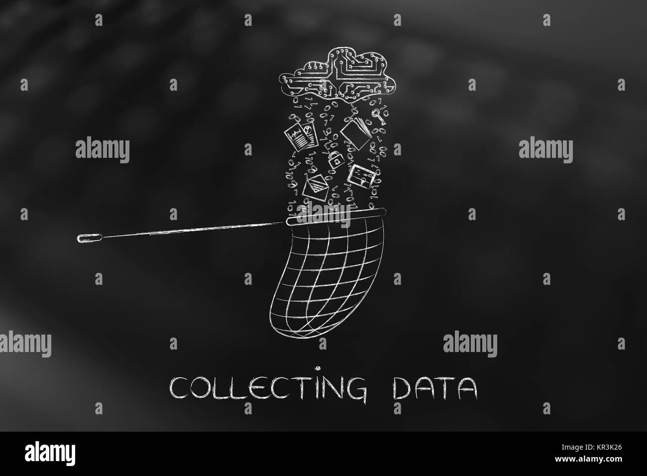 net catching files falling from an electronic cloud, collect data Stock Photo