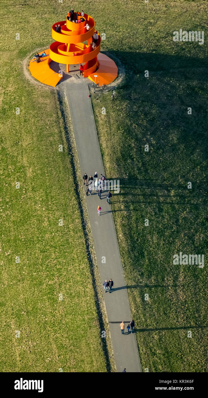 Lippepark Hamm, viewpoint on the heap, spiral and walkable artwork, bright orange,, Hamm, Ruhr area, North Rhine - Stock Image
