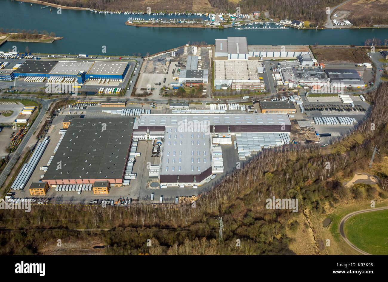 Commercial area Friedrich-der-Große, UPS depot Herne-Börnig, Rhine-Herne canal, Herne, Ruhr area, North - Stock Image