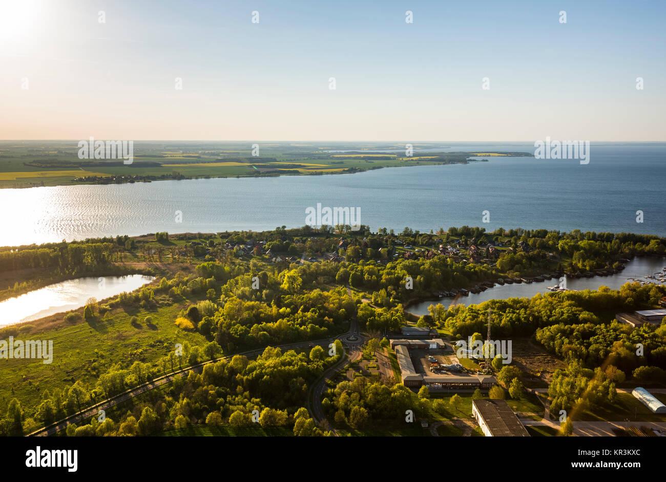 Rechlin mit Marina und Claassee und Müritz,  Rechlin, Mecklenburgische Seenplatte, Mecklenburger Seenplatte - Stock Image