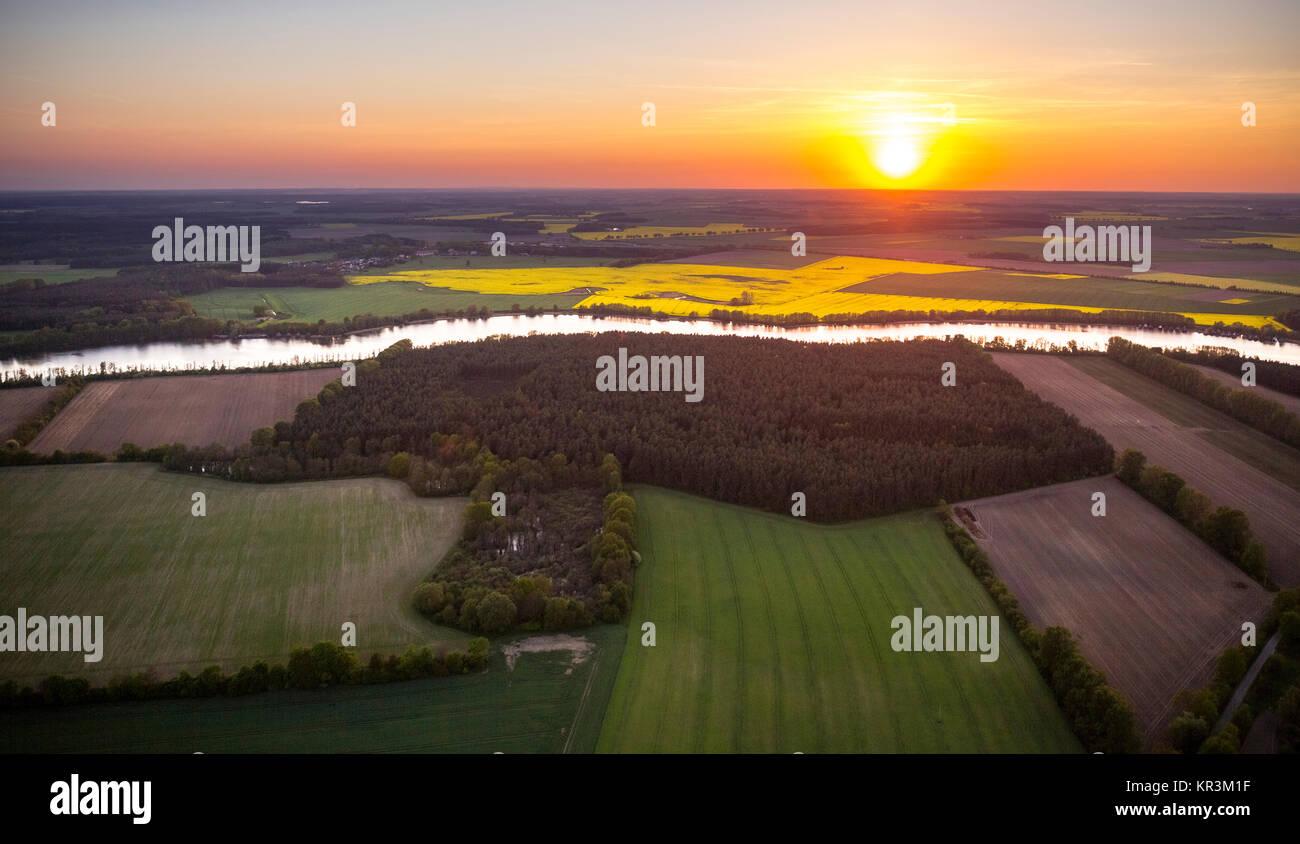 View over the Müritz arm with sunset direction Prilborn, Larz, Mecklenburg Lake District, Mecklenburg Lake - Stock Image