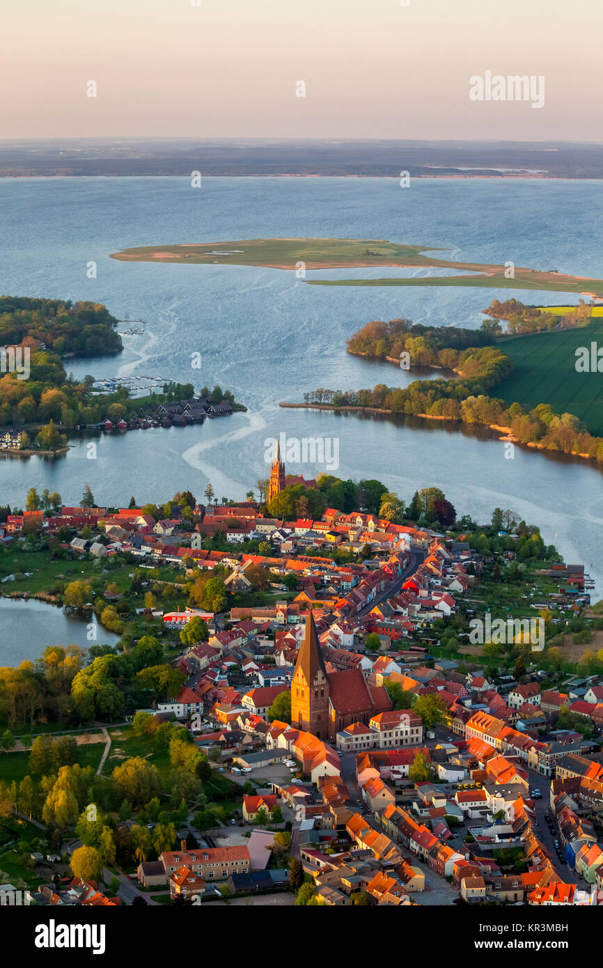 Robel with front St.Nikolai church and behind St. Mary's Church in alignment with the port entrance to Müritz, - Stock Image