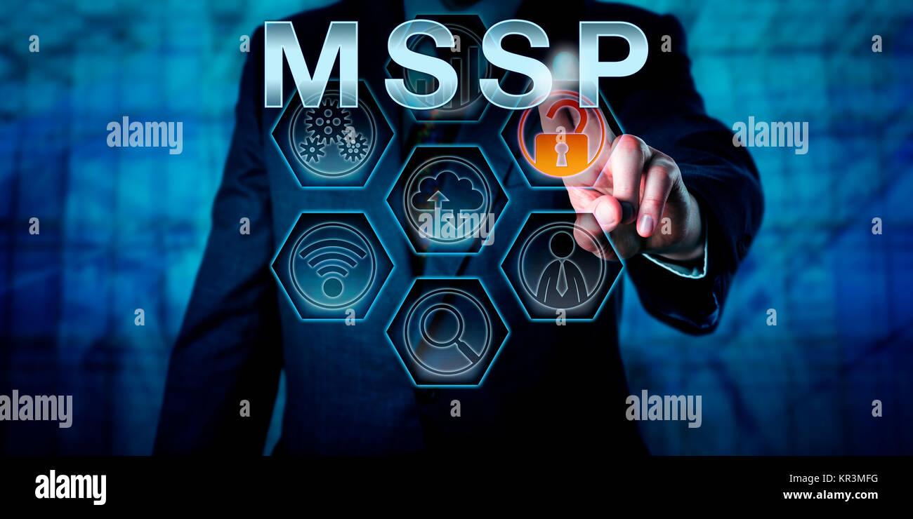 Corporate Network Administrator Pushing MSSP - Stock Image