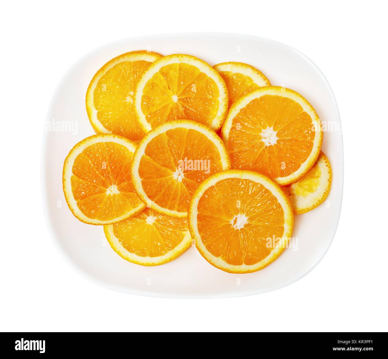 Orange on a white plate Stock Photo