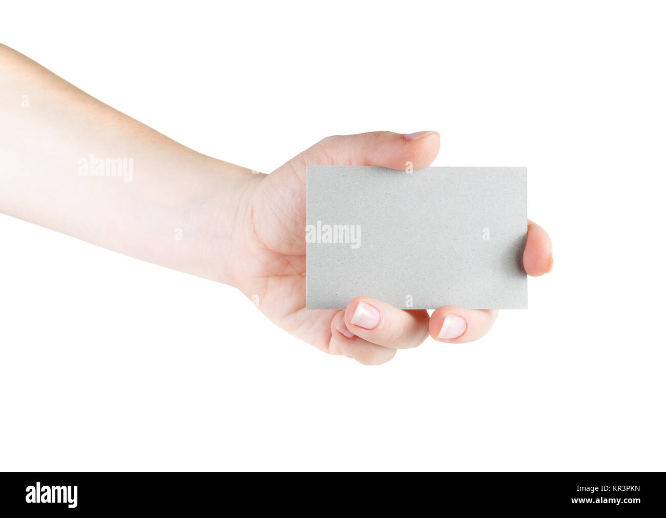 Business card in hand - Stock Image