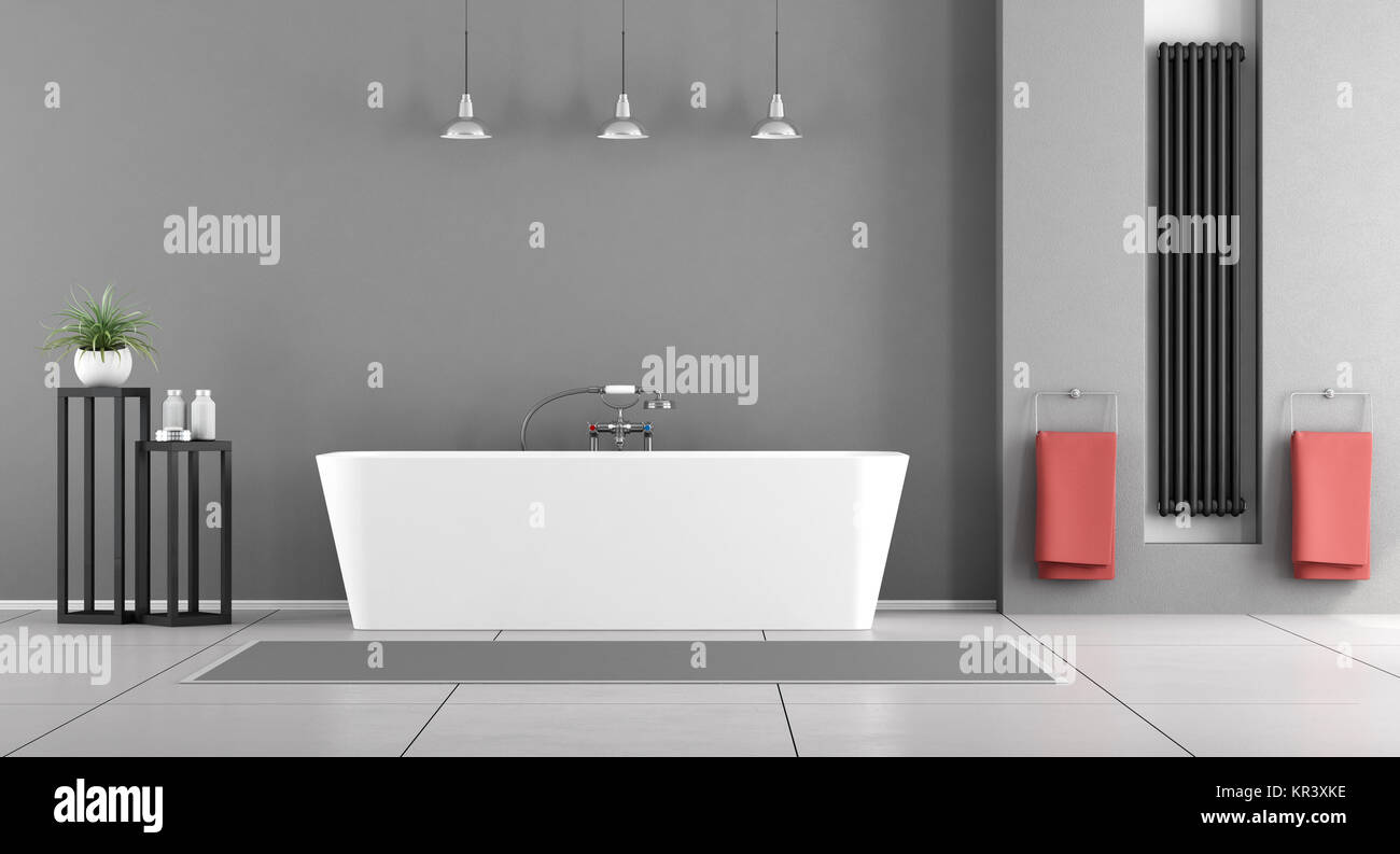 Contemporary Bathroom White Bathtub Heater Niche Stock Photos ...