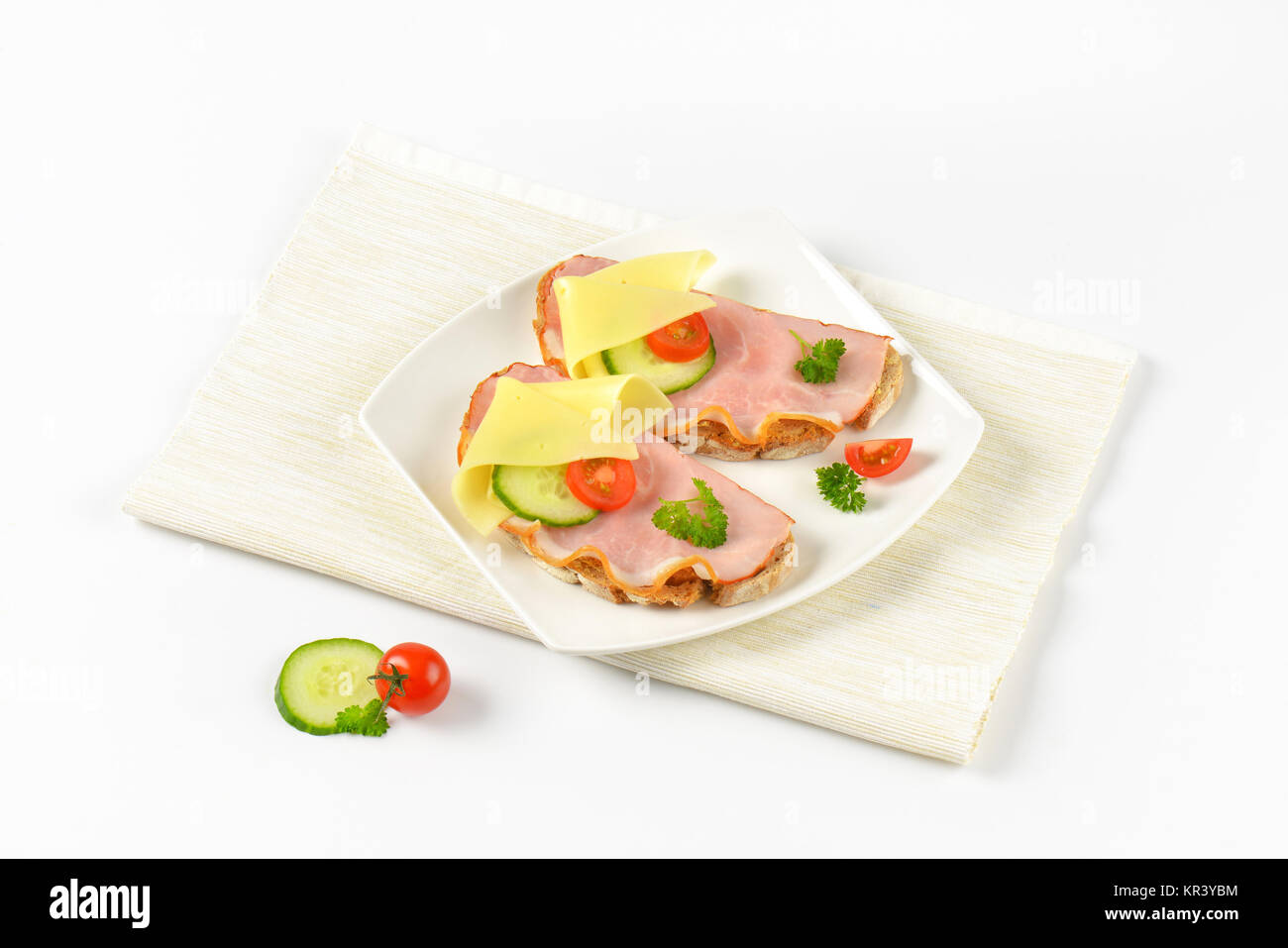open faced sandwiches - Stock Image