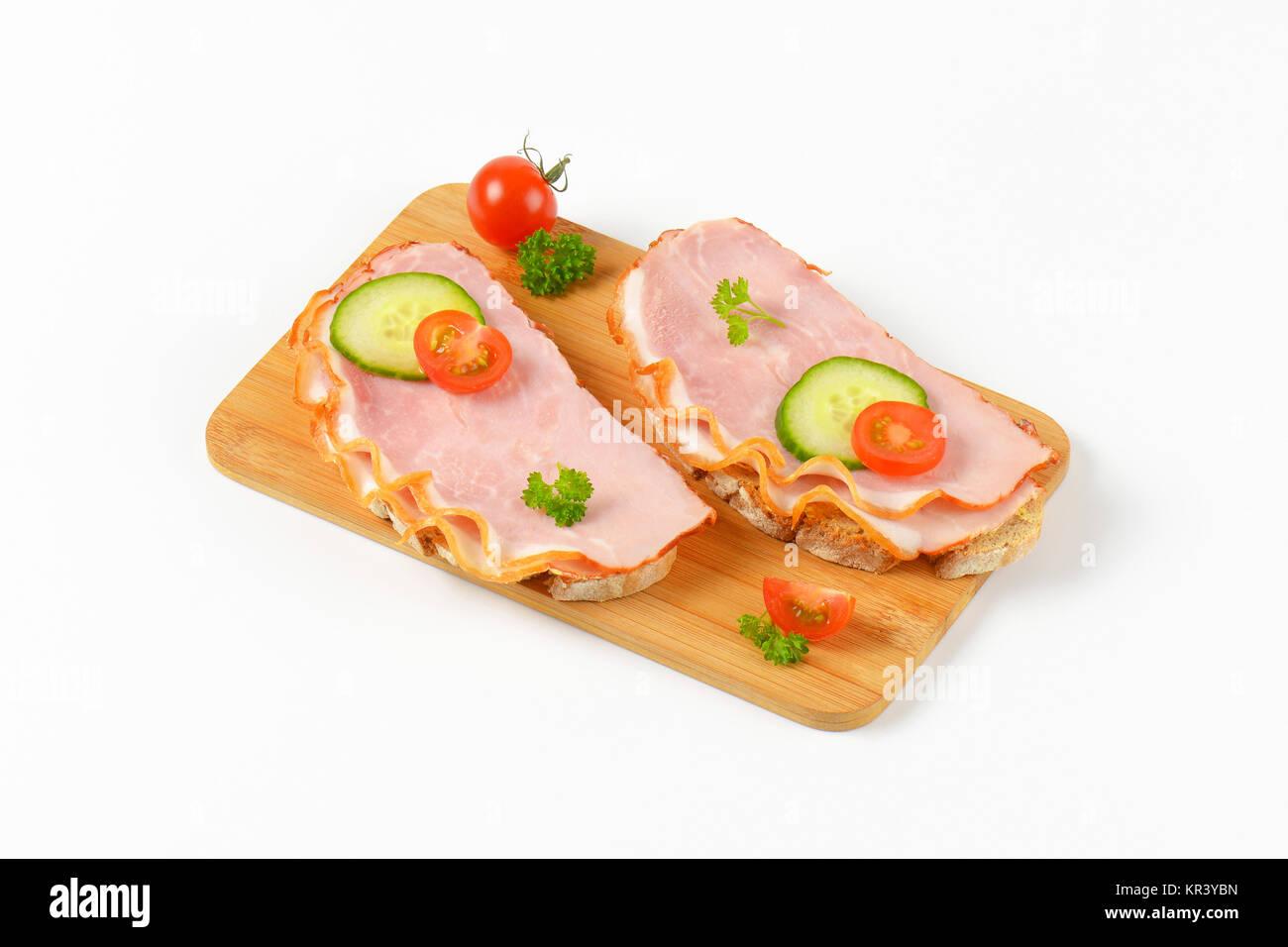 open faced ham sandwiches Stock Photo