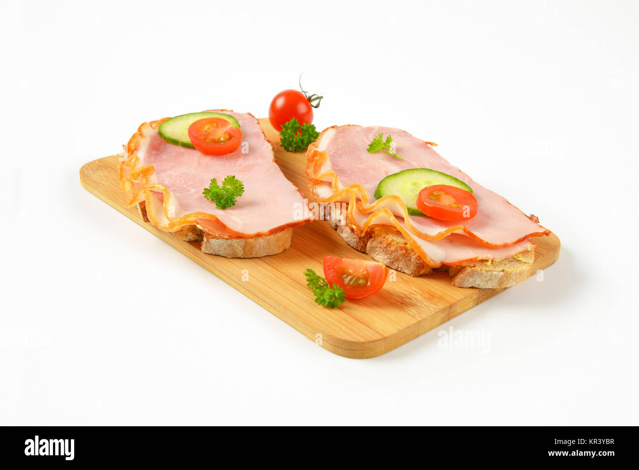 open faced ham sandwiches - Stock Image