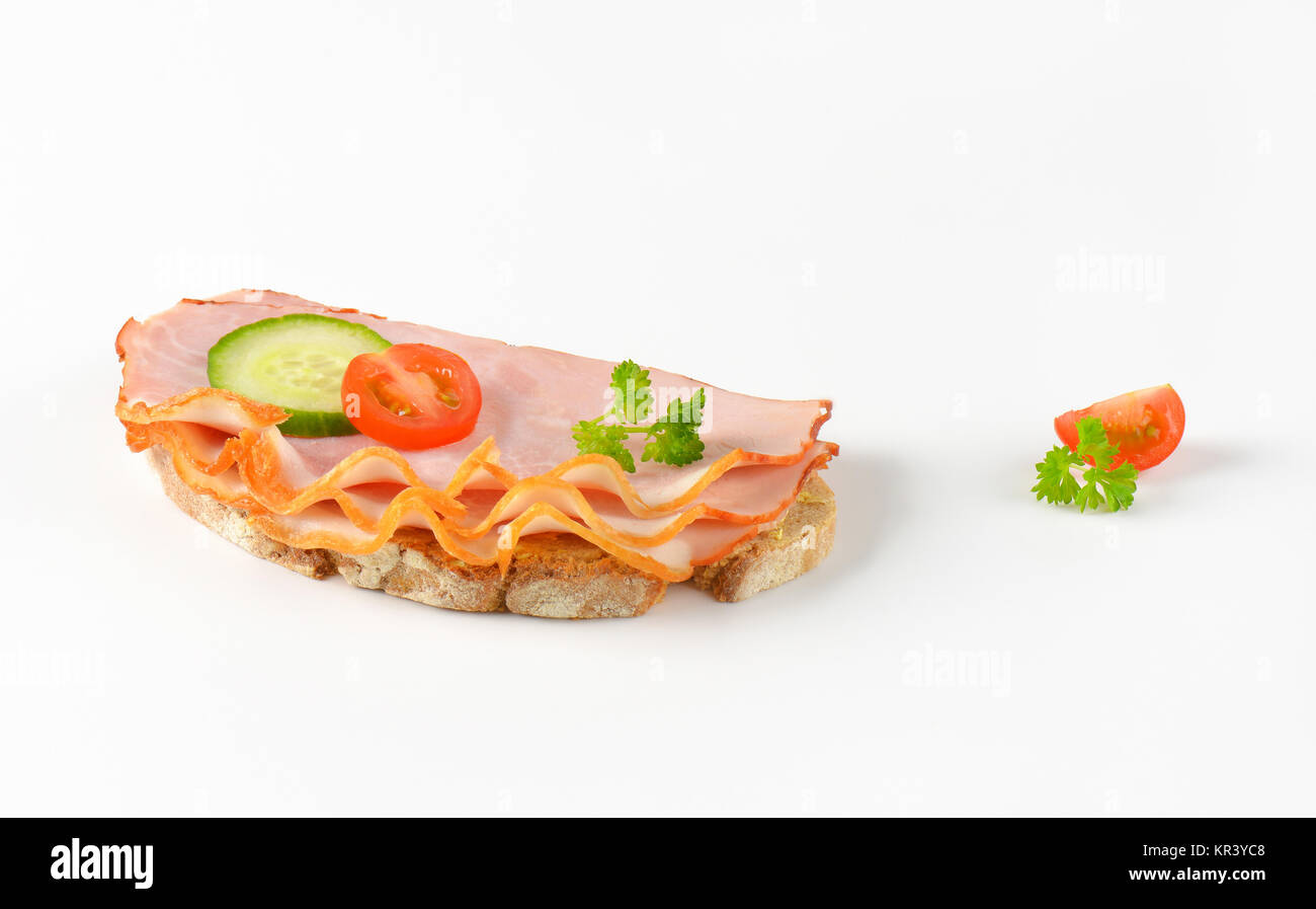 open faced ham sandwich - Stock Image