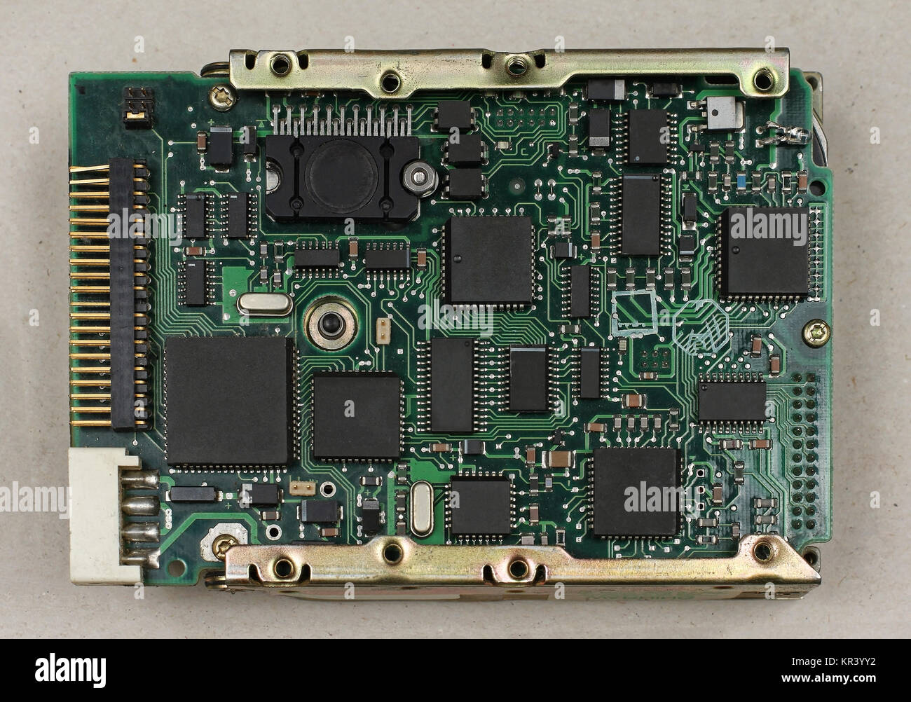 Electronic Board Technology Stock Photos Glass On The Schematic Diagramideal Background Circuit And Chip Image