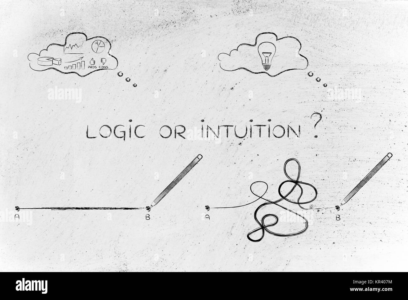 rationality vs creative process, point A to B lines and thought bubbles - Stock Image