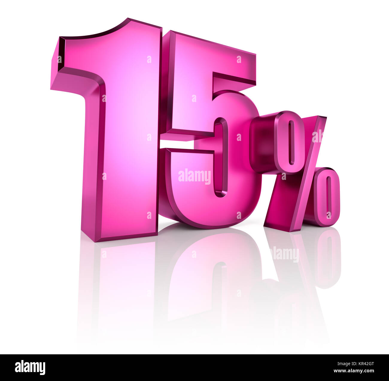 fifteen percent sign - Stock Image