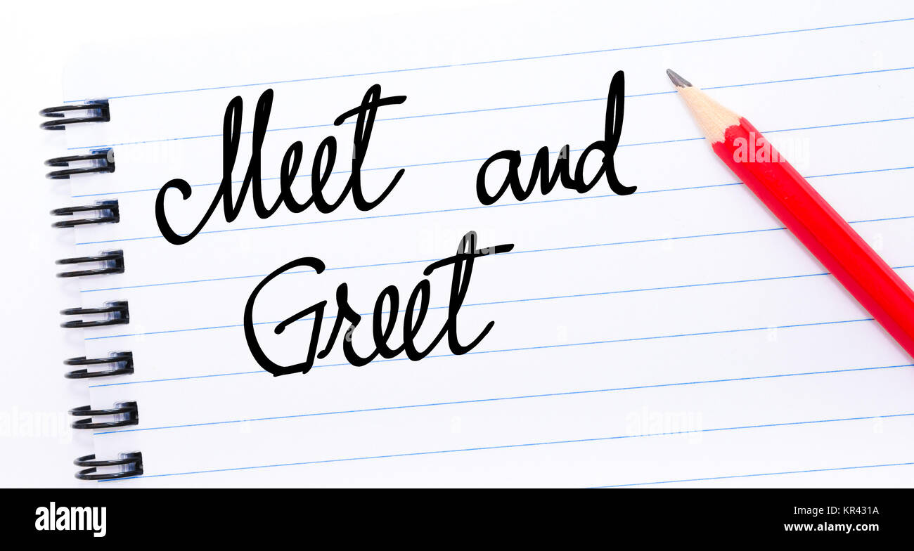 Meet and greet concept stock photos meet and greet concept stock meet and greet written on notebook page stock image m4hsunfo
